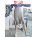 skirt Spring 2021 XS S M L grey Mid length dress Versatile Natural waist Ruffle Skirt Solid color 18-24 years old OM80114 81% (inclusive) - 90% (inclusive) Hstyle / handu clothing house cotton Lace stitching Drawstring Cotton 85% polyester 15% Pure e-commerce (online only)