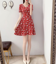 Women's large Summer 2021 Red, Navy Collect and buy free freight insurance, s 90-100 Jin, m 100-110 Jin, l 110-120 Jin, XL 120-140 Jin, 2XL 140-160 Jin, 3XL 160-180 Jin, 4XL 180-200 Jin Dress singleton  commute Self cultivation thin Socket Short sleeve Flower color Korean version V-neck routine