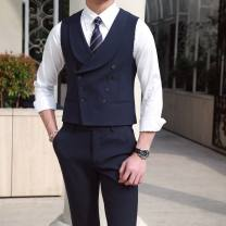 Vest / vest Fashion City Others M,L,XL,2XL,3XL Navy blue, black banquet Self cultivation Vest routine spring tailored collar teenagers 2019 Business Formal  Solid color double-breasted Cloth hem polyester fiber Bag digging with open cut thread 50% (inclusive) - 69% (inclusive)