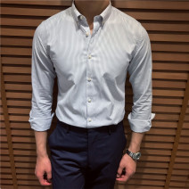 shirt Business gentleman Others S,M,L,XL,2XL,3XL,4XL,5XL Blue stripe, 043 with blue stripe, 0403 with blue stripe, 0409 with blue stripe Thin money Button collar Long sleeves Self cultivation go to work Four seasons youth Polyester 64% cotton 36% Business Casual 2019 stripe Color woven fabric cotton
