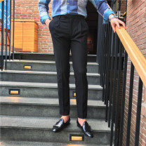 Western-style trousers Others Fashion City Dark blue, black, dark gray S,M,L,XL,2XL,3XL,4XL,5XL trousers Polyester 76.8% viscose (viscose) 21% polyurethane elastic (spandex) 2.2% Slim fit autumn go to work teenagers Business Casual Solid color 2020 No iron treatment Arrest line
