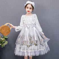 Dress Winter 2020 Grey (without bow tie skirt), pink (without bow tie skirt), grey plush, Pink Plush 110,120,130,140,150,160,170 singleton  Long sleeves Sweet Crew neck High waist Princess sleeve Under 17 30% and below