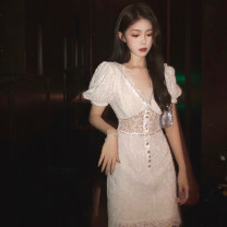 Dress Spring 2021 white S M L XL longuette singleton  Short sleeve commute V-neck High waist Solid color Socket A-line skirt routine Others 25-29 years old Type A Michelina Korean version Button MM219 More than 95% other other Other 100% Pure e-commerce (online only)