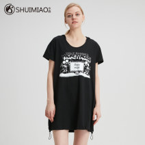 Women's large Summer 2020 Black green L XL 2XL 3XL Dress singleton  commute easy thin Socket Short sleeve Cartoon letters Simplicity Hood Cotton others Shuimiao 30-34 years old pocket Medium length Cotton 95% polyurethane elastic fiber (spandex) 5%
