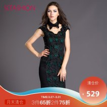 Dress Autumn 2015 Black and green XS S M L XL XXL Short skirt singleton  Sleeveless commute other middle-waisted Solid color zipper One pace skirt routine 30-34 years old Scfashion lady Gouhua hollow splicing SVEG114056 More than 95% polyester fiber Polyester 100% Exclusive payment of tmall