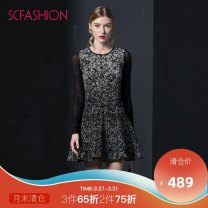 Dress Spring 2017 Black and white XS S M L XL XXL Short skirt singleton  Long sleeves commute Crew neck middle-waisted Broken flowers zipper Pleated skirt routine Others 30-34 years old Type A Scfashion lady printing SVEI124500 31% (inclusive) - 50% (inclusive) nylon