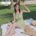 one piece  Yi Meishan S M L green One piece flat corner swimsuit With chest pad without steel support spandex Summer 2020 no female Sleeveless Casual swimsuit
