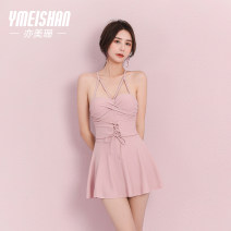 one piece  Yi Meishan M L XL Light pink One piece flat corner swimsuit Steel strap breast pad Nylon spandex polyester YMS209072 Autumn of 2019 no female Sleeveless Casual swimsuit Solid color backless