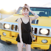 one piece  Yi Meishan black One piece flat corner swimsuit With chest pad without steel support Nylon spandex polyester YMS188111 Summer of 2018 no female Sleeveless Casual swimsuit Solid color backless