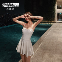 one piece  Yi Meishan S M L XL White-199163 purple-209324 green-209323 One piece flat corner swimsuit Steel strap breast pad Polyester nylon spandex YMS199163 Spring of 2019 no female Sleeveless Casual swimsuit Solid color backless