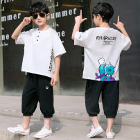 suit NGGGN 110cm 120cm 130cm 140cm 150cm 160cm male summer leisure time Short sleeve + pants 2 pieces Thin money There are models in the real shooting Socket nothing Cartoon animation cotton children Expression of love Class B Cotton 100% Summer 2021 Chinese Mainland Hubei province Yichang City