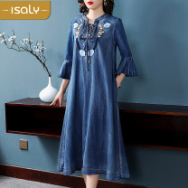 Dress Summer of 2019 blue M L XL Mid length dress singleton  three quarter sleeve street middle-waisted Breast wrapping 25-29 years old isaly More than 95% other Other 100% Europe and America