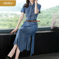 Dress Summer 2020 blue S M L XL Mid length dress singleton  Short sleeve street middle-waisted Breast wrapping 25-29 years old isaly More than 95% other Other 100% Europe and America