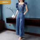 Casual pants blue S M L XL Summer of 2019 trousers Jumpsuit High waist street KZ137 isaly Other 100% Europe and America