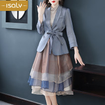 Dress Winter of 2019 Picture color S M L XL Mid length dress Two piece set Long sleeves street tailored collar middle-waisted routine Breast wrapping 25-29 years old isaly LY4083 More than 95% other Other 100% Europe and America