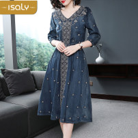 Dress Summer of 2018 Picture color S M L XL Mid length dress singleton  three quarter sleeve street V-neck middle-waisted Socket Breast wrapping 25-29 years old isaly More than 95% other Other 100% Europe and America