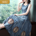 Dress Summer of 2019 blue S M L XL Mid length dress singleton  Sleeveless street Crew neck middle-waisted Socket Breast wrapping 25-29 years old isaly LY3451 More than 95% other Other 100% Europe and America