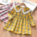 Dress Rose pink plaid skirt with lapel and yellow plaid skirt with lapel female Thepigbaby 110cm.,120cm.,130cm.,140cm.,150cm.,160cm. Cotton 90% other 10% spring and autumn Korean version Long sleeves lattice cotton A-line skirt x2631 Class B Four, five, six, seven, eight, nine Chinese Mainland