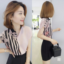 shirt Color matching shirt S,M,L Summer of 2019 polyester fiber 91% (inclusive) - 95% (inclusive) Short sleeve street Regular square neck Single row multi button routine Self cultivation Fanlis F192t04122p Europe and America