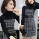 Dress Winter 2020 Color matching, brown S,M,L Mid length dress singleton  Long sleeves street High collar middle-waisted lattice other other other Others Fanlis F184n05987p 51% (inclusive) - 70% (inclusive) polyester fiber Europe and America