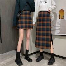 skirt Spring 2021 S,M,L Black and white short, black and white long, orange short, orange long Short skirt Versatile High waist A-line skirt lattice Type A 18-24 years old