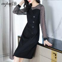 Women's large Spring 2020 black Dress Aipu Polyester 100%