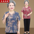 Middle aged and old women's wear Summer 2020 L [recommended 70-90 kg] XL [recommended 90-105 kg] 2XL [recommended 105-120 kg] 3XL [recommended 120-135 kg] 4XL [recommended 135-155 kg] Happiness shirt easy Two piece set Decor Over 60 years old Cardigan thin Crew neck routine routine YSQC-4865 Button