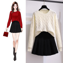 skirt Autumn 2020 S. M, l, XL, one size sweater Short skirt commute Natural waist Pleated skirt Solid color More than 95% other Korean version