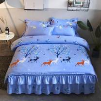 Bedding Set / four piece set / multi piece set Polyester (polyester fiber) other Plants and flowers 128x68 Polyester (polyester fiber) 4 pieces 40 Bed skirt Qualified products European style other Reactive Print  Thermal storage other