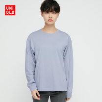 T-shirt 61 Aqua Blue 150/76A/XS 155/80A/S 160/84A/M 160/88A/L 165/92A/XL 170/100B/XXL 175/108C/XXXL Spring 2021 Long sleeves Regular cotton 96% and above UNIQLO / UNIQLO UQ437865000 Cotton 100% Same model in shopping mall (sold online and offline)