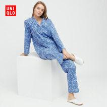 Pajamas / housewear set female UNIQLO / UNIQLO 150/76A/XS 155/80A/S 160/84A/M 160/88A/L 165/92A/XL 170/96A/XXL 175/104B/XXXL 63 sky blue other spring Viscose fiber (viscose fiber) 50% cotton 45% polyurethane elastic fiber (spandex) 5% Spring 2021 Same model in shopping mall (sold online and offline)