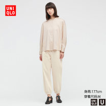 Casual pants 09 black 30 light beige 31 Beige 155/58A/XS 155/62A/S 160/66A/M 160/70A/L 165/78A/XL 170/82A/XXL Spring 2021 trousers Straight pants Natural waist UQ437097000 UNIQLO / UNIQLO Cotton 100% Same model in shopping mall (sold online and offline)