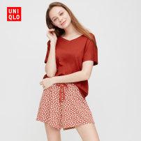 Pajamas / housewear set female UNIQLO / UNIQLO 150/80/XS 155/85/S 160/90/M 165/95/L 170/100/XL 175/105/XXL 175/110/XXXL 09 Black 10 water pink 13 rose viscose  summer UQ422884000 Viscose (viscose) 70% Cotton 30% Summer 2020 Same model in shopping mall (sold online and offline)