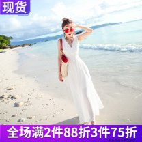 Dress Summer 2015 Double V white L S M longuette singleton  Sleeveless Sweet V-neck High waist Solid color Socket Big swing other Breast wrapping 25-29 years old The journey of migratory birds Open back fold HN15B273 More than 95% Chiffon polyester fiber Polyester 100% Bohemia