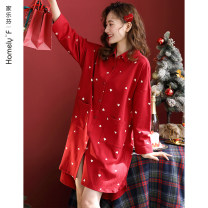 Nightdress Carrefen A60073 [nightdress shirt collar cardigan] a60074 [suit shirt collar cardigan] a60029 [suit round collar sleeve] a60055 [suit Lapel cardigan] a60075 [suit baby collar sleeve] 1 2 3 4 5 M L XL XXL XXXL 4XL Simplicity Long sleeves Leisure home Middle-skirt autumn heart-shaped youth