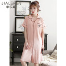 Nightdress Carrefen C822551 peach powder c822552 mint green c822550 royal blue c908 Pink Stripe c907 Royal Blue Stripe M L XL XXL XXXL 4XL Simplicity Short sleeve Leisure home Middle-skirt summer Solid color youth Small lapel cotton Button decoration More than 95% pure cotton C822551 Summer of 2019