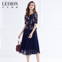 Dress Summer of 2019 M L XL 2XL 3XL 4XL Mid length dress Fake two pieces elbow sleeve commute Crew neck High waist Big flower zipper A-line skirt routine Others 40-49 years old Type A Leihon / Li Hong International Britain Stitched mesh zipper lace printing 91% (inclusive) - 95% (inclusive)