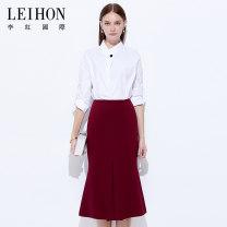 skirt Summer of 2018 M L XL 2XL 3XL 4XL Jujube 01 Middle-skirt Retro High waist Irregular Type H 30-34 years old More than 95% Leihon / Li Hong International polyester fiber Fold splicing Polyester 99% other 1%