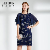 Dress Summer of 2018 01 blue M L XL 2XL 3XL 4XL Mid length dress singleton  elbow sleeve commute Crew neck High waist Abstract pattern zipper One pace skirt Lotus leaf sleeve Others 35-39 years old Type H Leihon / Li Hong International lady W37172 More than 95% nylon Polyamide fiber (nylon) 100%