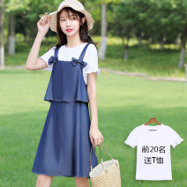 Dress Summer of 2019 Dark blue light blue 155/S 160/M 165/L 170/XL 175/XXL Middle-skirt Two piece set Short sleeve Sweet Crew neck Loose waist Solid color zipper A-line skirt Lotus leaf sleeve straps 18-24 years old Boshiqi Bow and ruffle 180619H More than 95% Denim other Other 100% college