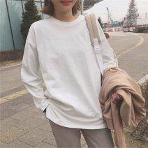 T-shirt 299 * white 299 * BLACK (2 Pack) free combination M L XL XXL Spring 2020 Long sleeves Crew neck easy Regular routine commute polyester fiber 86% (inclusive) -95% (inclusive) 18-24 years old Korean version classic Solid color Eternal declaration 2020YHXY299_2 Splicing