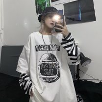 T-shirt polyester fiber 86% (inclusive) - 95% (inclusive) 2019YHXY184  Long sleeve Autumn 2019 18-24 years old Crew neck Medium and long term easy Routine commute Eternal declaration Geometric pattern letter thick horizontal stripe color matching youth Korean version M L XL XXL
