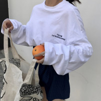 T-shirt 1982 * white 1982 * BLACK M L XL XXL Autumn of 2019 Long sleeves Crew neck easy Medium length routine commute polyester fiber 86% (inclusive) -95% (inclusive) 18-24 years old Korean version youth Letter solid color splicing Eternal declaration 2019YHXY1982 Print stitching