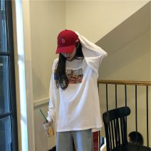 T-shirt 289 * white (special offer for new products) M L XL XXL Autumn of 2019 Long sleeves Crew neck easy Regular routine commute polyester fiber 86% (inclusive) -95% (inclusive) 18-24 years old Korean version youth Geometric pattern alphanumeric character mosaic Eternal declaration 2019YHXY289