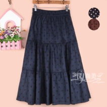 skirt Winter 2020 S9 is for a waist of 1-9-2, M11 is for a waist of 2-1-2, L13 is for a waist of 2-2-2-3, XL15 is for a waist of 2-4-2-5 Dark blue, black, brown longuette Versatile High waist A-line skirt Dot Type A 51% (inclusive) - 70% (inclusive) other cotton Fold, splice