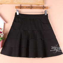skirt Spring 2021 S9 is for a waist of 1-9-2, M11 is for a waist of 2-1-2, L13 is for a waist of 2-2-2-3, XL15 is for a waist of 2-4-2-5 black Short skirt Versatile High waist Cake skirt Solid color Type A 51% (inclusive) - 70% (inclusive) other cotton Ruffles, folds