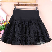 skirt Winter 2020 M11 is for a waist of 1'9 to 2'1, L13 is for a waist of 2'2 to 2'4, XL15 is for a waist of 2'4 to 2'6 Black a, black B, black C, black D, black e, black f Short skirt commute High waist Fluffy skirt Solid color Type A 51% (inclusive) - 70% (inclusive) Lace cotton Korean version