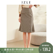 skirt Spring 2021 S M L Gag Mid length dress commute Natural waist skirt lattice 25-29 years old 81% (inclusive) - 90% (inclusive) Kathy Lyle polyester fiber Pocket button panel Simplicity Pure e-commerce (online only) 40g / m ^ 2 and below