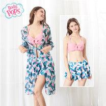Split swimsuit body pops S M L XL Skirt split swimsuit Steel strap breast pad Summer of 2019 yes Long sleeves