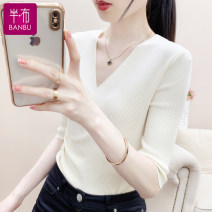 Wool knitwear Summer 2021 S M L XL Apricot white black elbow sleeve singleton  Socket other More than 95% have cash less than that is registered in the accounts Thin money commute Self cultivation V-neck routine Solid color Socket Korean version BB1307 25-29 years old Half a cloth Other 100%